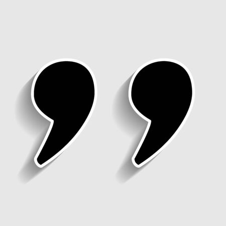 citing: Quote sign. Sticker style icon with shadow on gray.