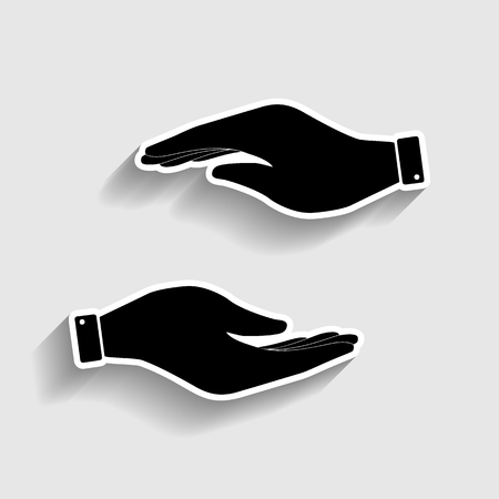 www arm: Hand sign. Sticker style icon with shadow on gray. Illustration