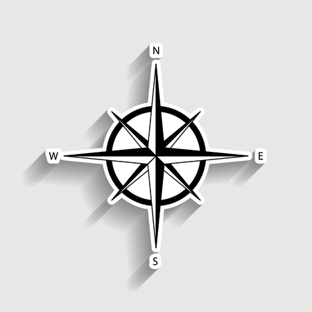 wind rose: Wind rose sign. Sticker style icon with shadow on gray. Illustration