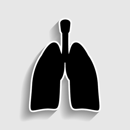 pulmones: Human organs. Lungs sign. Sticker style icon with shadow on gray. Illustration