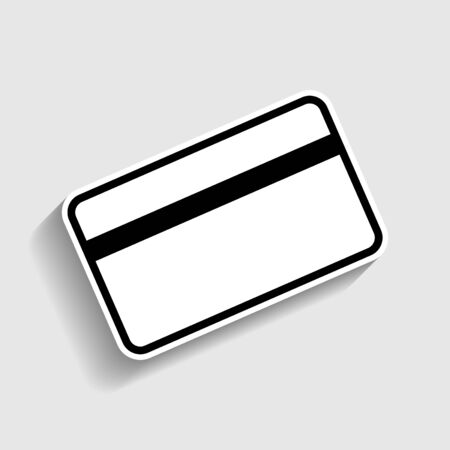 magnetic clip: Credit card symbol for download. Sticker style icon with shadow on gray.