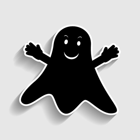 ghastly: Ghost isolated sign. Sticker style icon with shadow on gray.