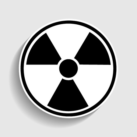 perilous: Radiation Round sign. Sticker style icon with shadow on gray. Illustration