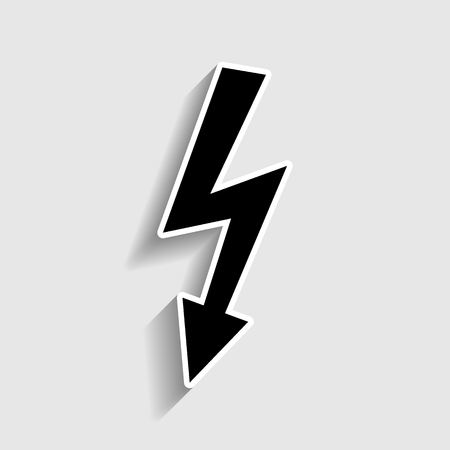 volte: High voltage danger sign. Sticker style icon with shadow on gray.