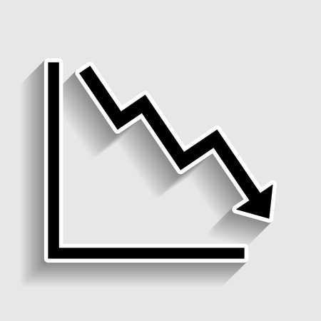 exchange loss: Arrow pointing downwards showing crisis. Sticker style icon with shadow on gray.