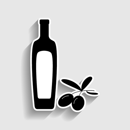 salad dressing: Black olives branch with olive oil bottle sign. Sticker style icon with shadow on gray. Illustration