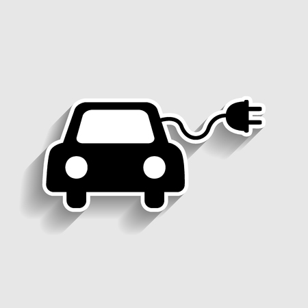 echnology: Eco electric car sign. Sticker style icon with shadow on gray.
