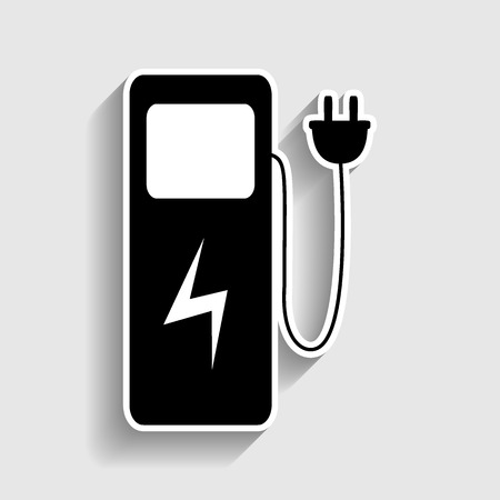 zero emission: Electric car charging station sign. Sticker style icon with shadow on gray.