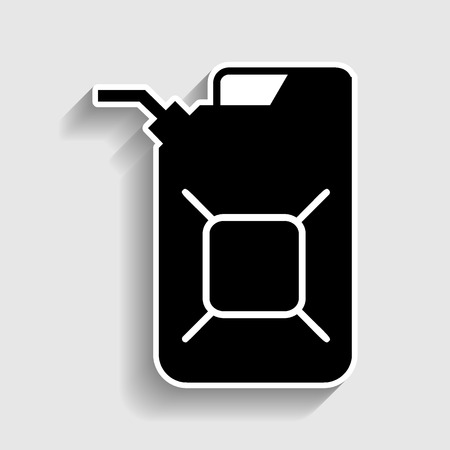 filler: Jerrycan oil sign. Jerry can oil sign. Sticker style icon with shadow on gray.