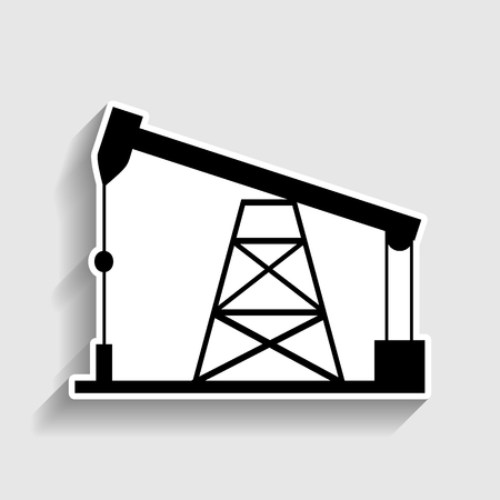 drilling rig: Oil drilling rig sign. Sticker style icon with shadow on gray.