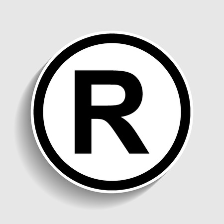 dispensation: Registered Trademark sign. Sticker style icon with shadow on gray.