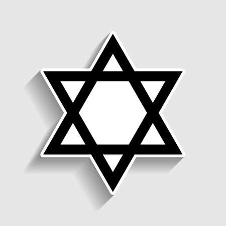 magen david: Star. Shield Magen David. Symbol of Israel. Sticker style icon with shadow on gray. Illustration