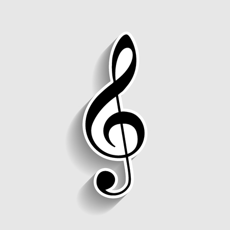festival scales: Music violin clef sign. G-clef. Treble clef. Sticker style icon with shadow on gray.