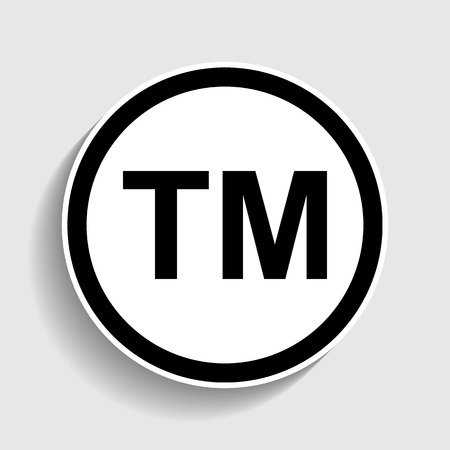 trade mark: Trade mark sign. Sticker style icon with shadow on gray.