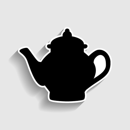 sign maker: Tea maker sign. Sticker style icon with shadow on gray.