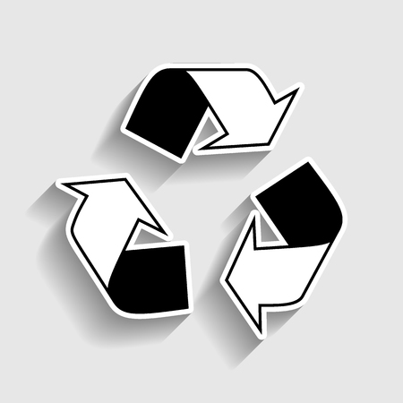 recycle logo: Recycle logo concept. Sticker style icon with shadow on gray. Illustration