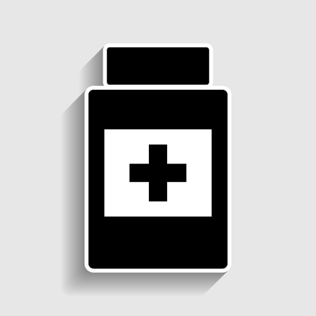 medicament: Medical container sign. Sticker style icon with shadow on gray. Illustration