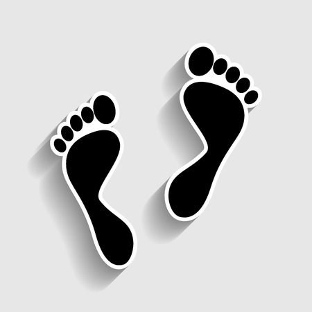 alibi: Foot prints sign. Sticker style icon with shadow on gray.