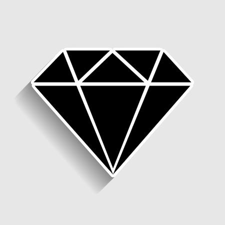 spoil: Diamond sign. Sticker style icon with shadow on gray. Illustration