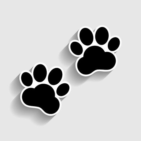 huellas de animales: Pistas animales firman. icono de la moda pegatina con sombra en gris. Vectores