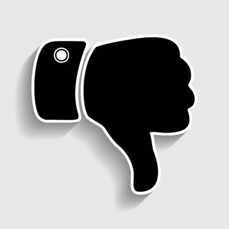 denied: Hand sign. Sticker style icon with shadow on gray. Illustration