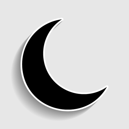 afterglow: Moon sign. Sticker style icon with shadow on gray.