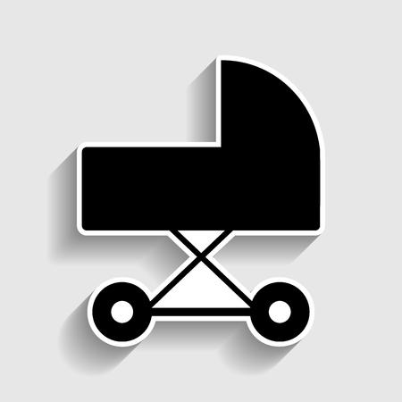 perambulator: Pram sign. Sticker style icon with shadow on gray.