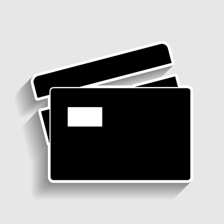 transact: Credit Card sign. Sticker style icon with shadow on gray.