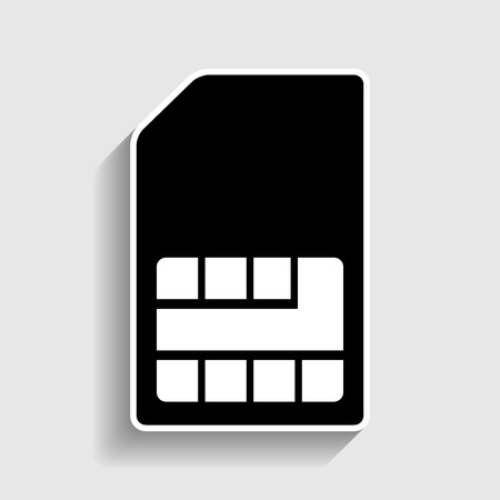 sim card: Sim card sign. Sticker style icon with shadow on gray.