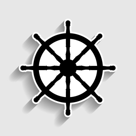 Ship wheel sign. Sticker style icon with shadow on gray. Vektorové ilustrace