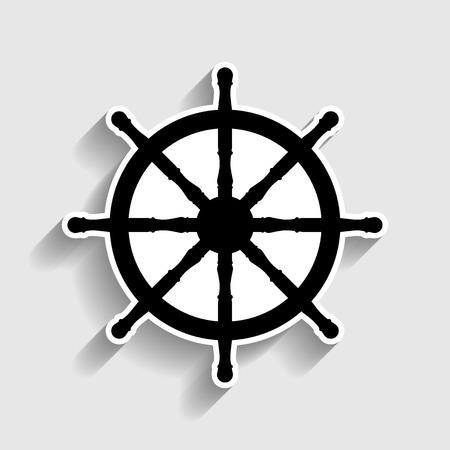 Signe de roue de navire. Sticker icône de style avec l'ombre sur le gris. Vecteurs