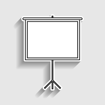 projection screen: Blank Projection screen. Sticker style icon with shadow on gray.