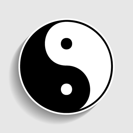 yang style: Ying yang symbol of harmony and balance. Sticker style icon with shadow on gray. Illustration