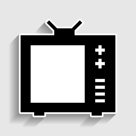 tvset: TV sign. Sticker style icon with shadow on gray. Illustration