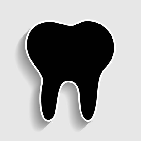mouth pain: Tooth sign. Sticker style icon with shadow on gray.