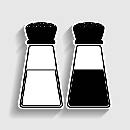 Salz und Pfeffer Zeichen. Aufkleber-Stil-Symbol mit Schatten auf grau.
