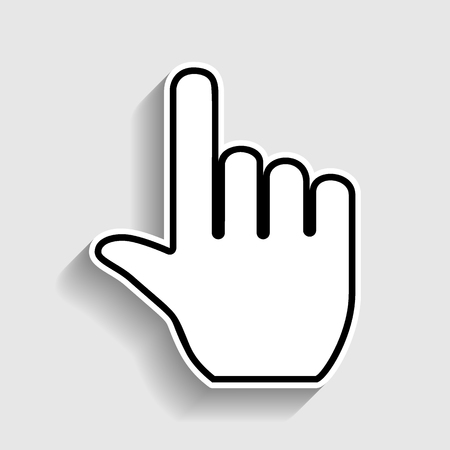 depress: Hand sign. Sticker style icon with shadow on gray. Illustration