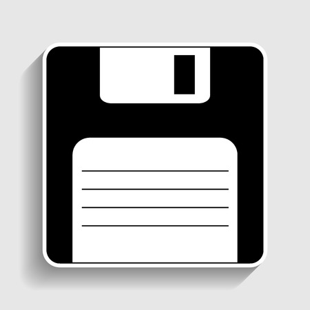 old pc: Floppy disk sign. Sticker style icon with shadow on gray. Illustration