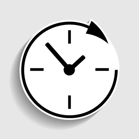 shop opening hours: Service and support for customers around the clock and 24 hours. Sticker style icon with shadow on gray.