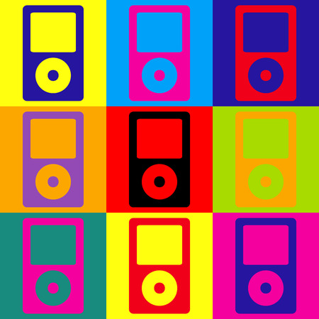 mp: Portable music device. Pop-art style colorful icons set.