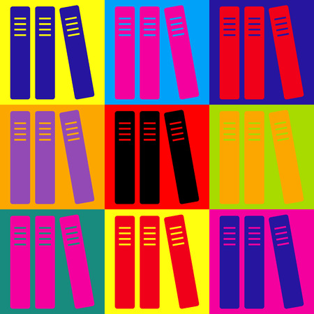 noticeable: Row of binders, office folders icon. Pop-art style colorful icons set.