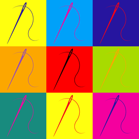 Nadel mit Gewinde Nähnadel, Nadel zum Nähen. Pop-Art-Stil bunte Icons gesetzt. Vektorgrafik