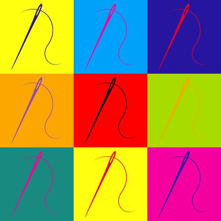 Nadel mit Gewinde Nähnadel, Nadel zum Nähen. Pop-Art-Stil bunte Icons gesetzt.