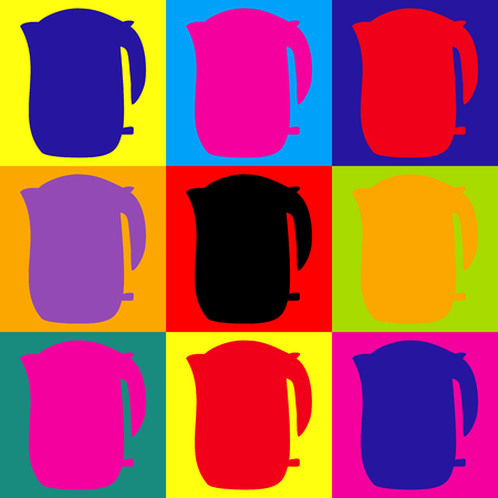 electric kettle: Electric kettle icon. Pop-art style colorful icons set.