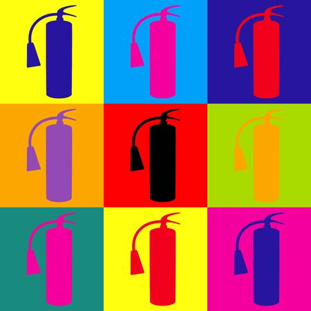 extinguish: Fire extinguisher icon. Pop-art style colorful icons set. Illustration