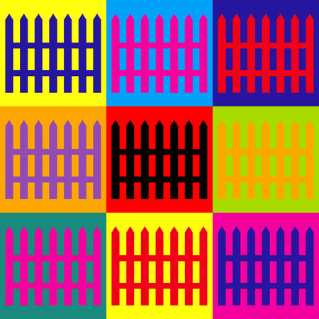 dissociation: Fence simple icon. Pop-art style colorful icons set. Illustration