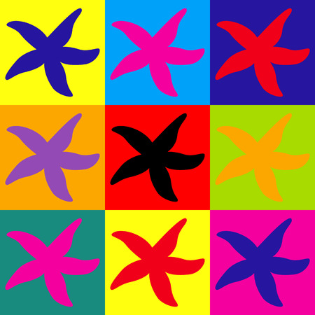 sea star: Sea star icon. Pop-art style colorful icons set. Illustration