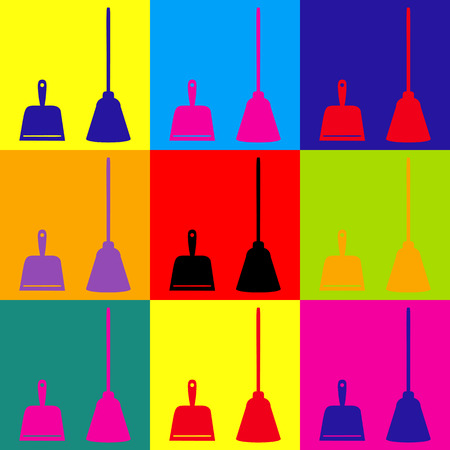 dustpan: Dustpan vector icon. Scoop for cleaning garbage housework dustpan equipment. Pop-art style colorful icons set. Illustration