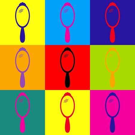 hand mirror: Hand Mirror Icon. Pop-art style colorful icons set. Illustration