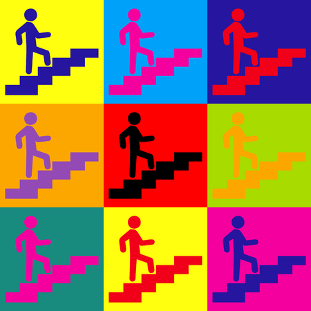 rise: Man on Stairs going up. Pop-art style colorful icons set. Illustration